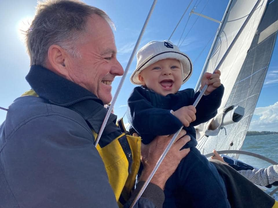 Tapio onboard Galiana with his grandson Emil